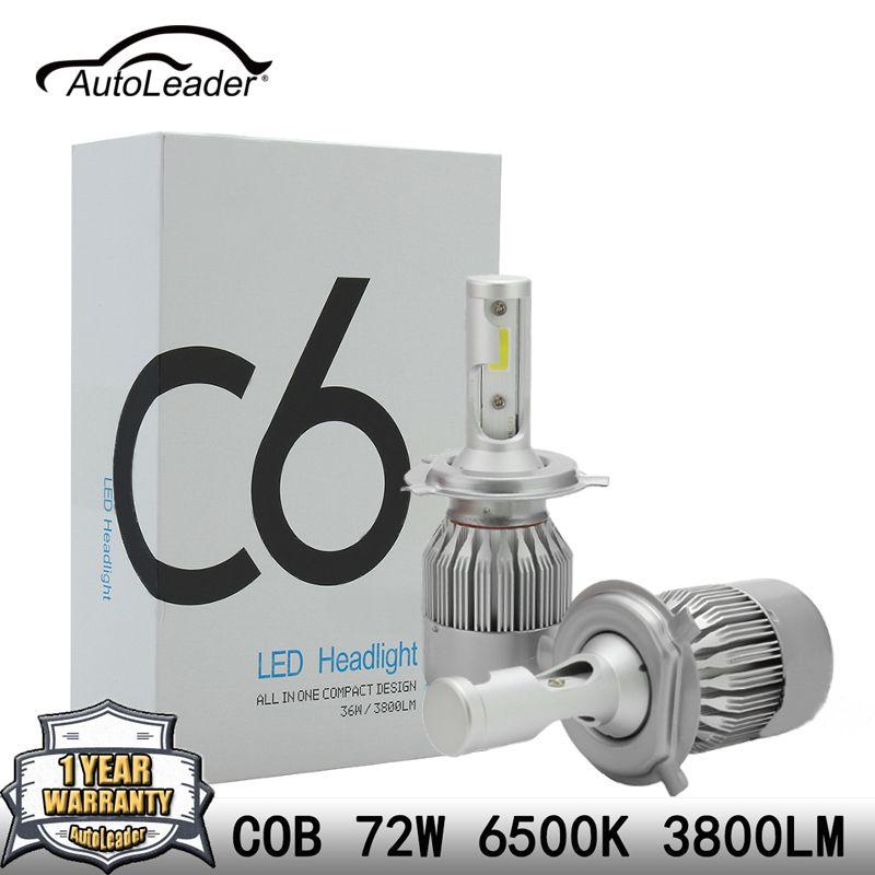 AutoLeader C6 Auto H4 LED Headlight H7 Car Light Low Beam COB Chip Hi-lo Beam Headlamp H1 H11 72W 7600lm 6500k DC12-24V DRL