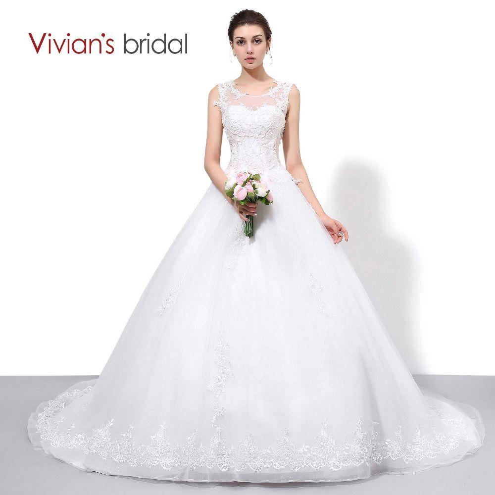 Vivian dentelle de mariée Tulle une ligne pays Western robes de mariée sans manches mariée robe de mariée Court Train femmes robe de mariée