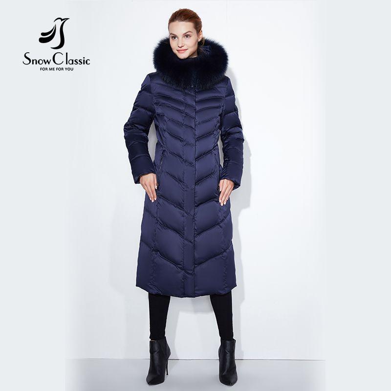 Snowclassic 2017 dame große größe pelz kragen hut lange körper baumwolle jacke jacke warm kalt mode streifen