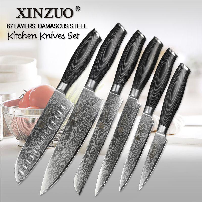 XINZUO 6 PCS Küchenmesser Set 67 Schichten Hohe Carbon Japanischen VG10 Damaskus Stahl Chef Santoku Utility Messer Pakkawood Griff