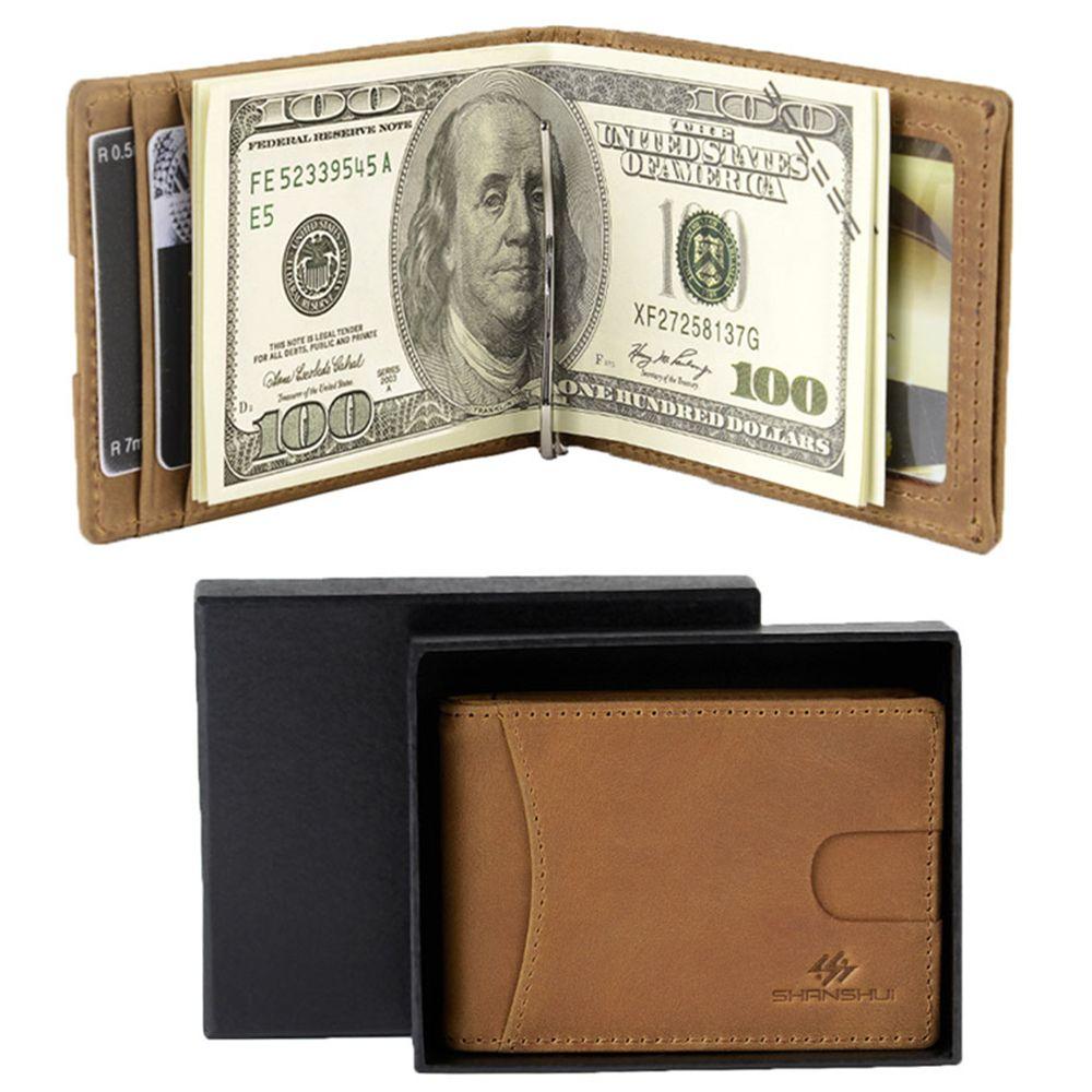 Винтаж Пояса из натуральной кожи Для мужчин зажим для денег RFID Блокировка долларов США тонкие карты карман мужской короткие Женские Кошель...