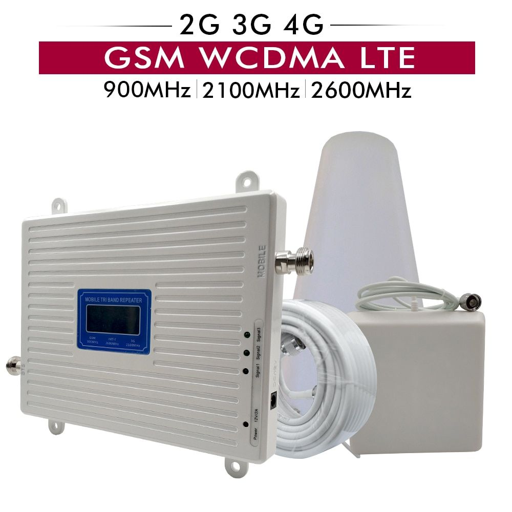 2G 3G 4G Tri Band Mobile Signal Repeater GSM 900+UMTS/WCDMA 2100+FDD LTE 2600 Cellphone Signal Booster Amplifier 4g lte Repeater