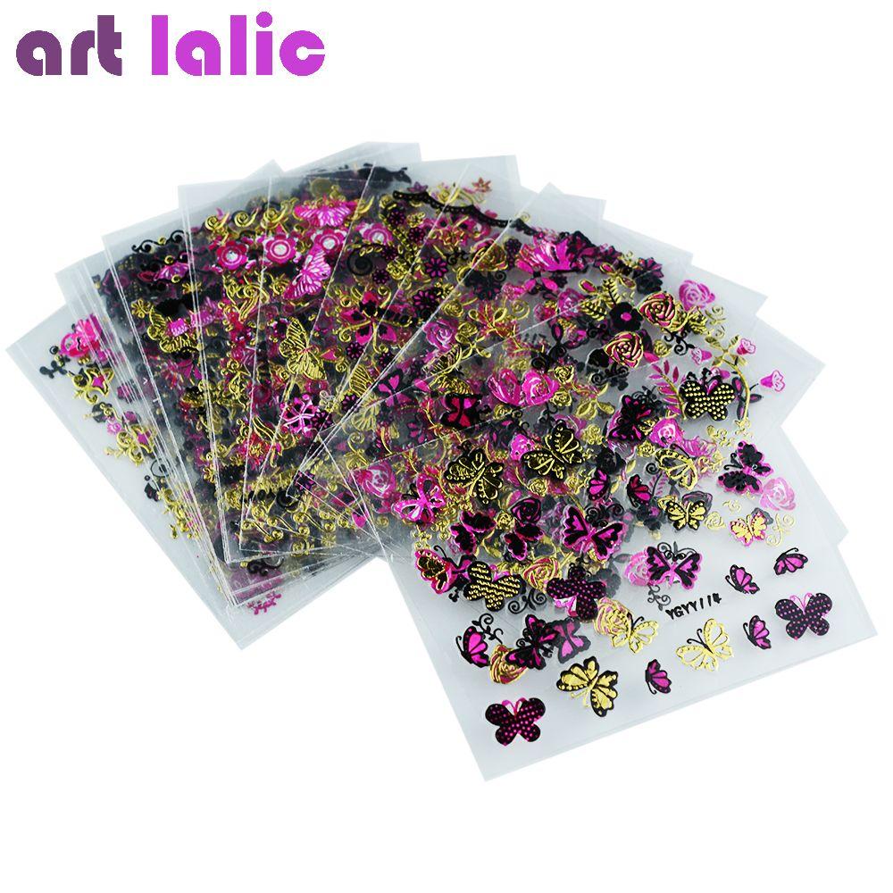 Artlalic 24 Stücke/Blatt Goldfolie Blumen Schmetterling Muster Stanzen 3D Aufkleber Charms Bronzing Nägel Kunst Decals