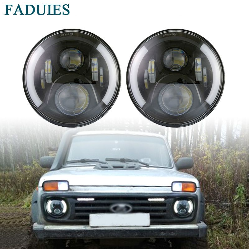 FADUIES 2Psc 7 Inch LED Headlight H4 H13 Hi-Lo With Halo Angel Eyes For Lada 4x4 urban Niva Jeep JK Land rover defender Hummer