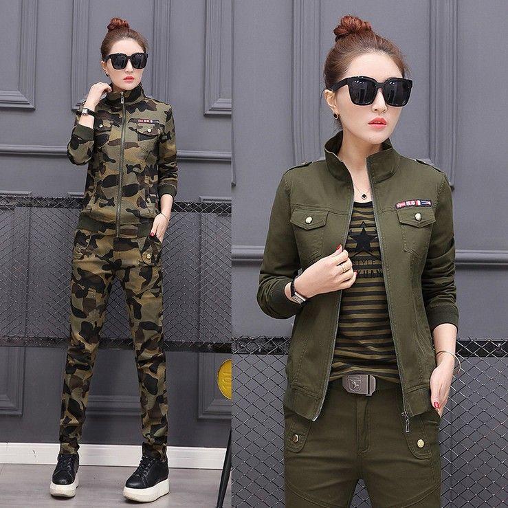 Grande taille Conjunto Feminino Costume femme coton militaire Camouflage veste + pantalon ensemble deux pièces 3XL 4XL 5XL Survetement