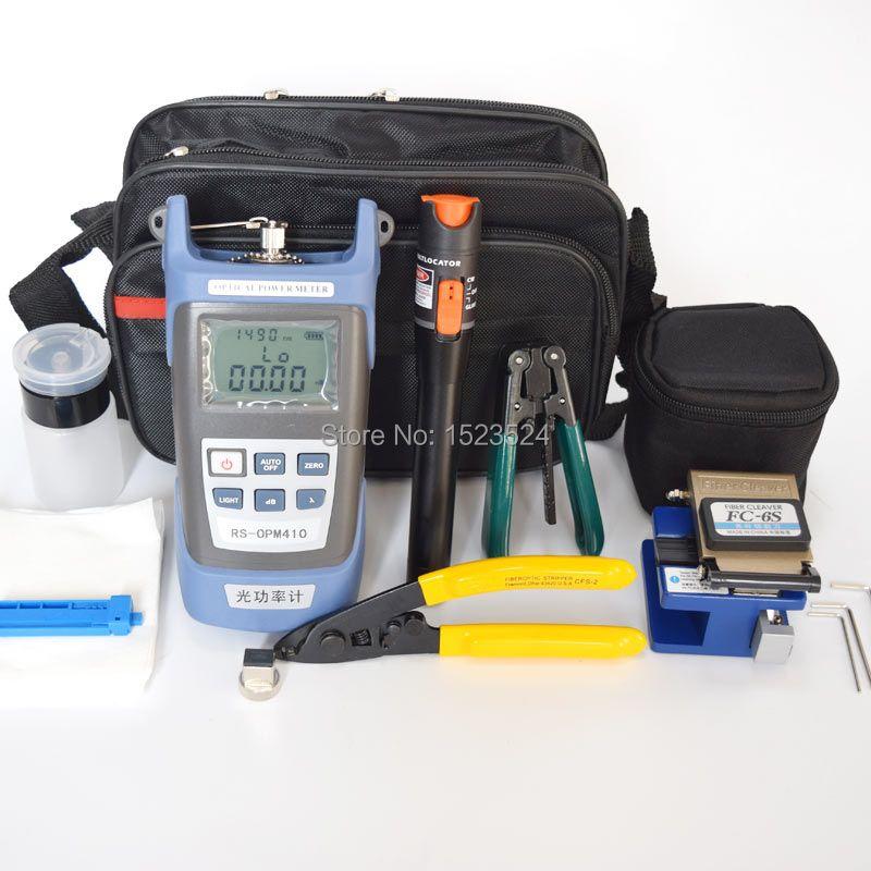 12pcs/set FTTH Fiber Optic Tool Kit with Fiber Cleaver -70~+10dBm Optical Power Meter Visual Fault Lcator 10mw