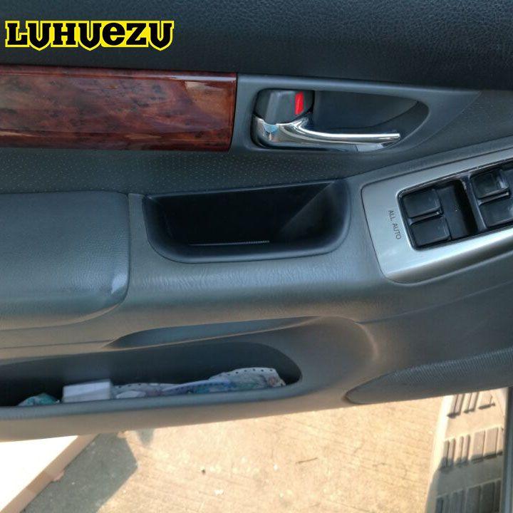 Luhuezu 4PCS ABS Car Interior Door Stowing Holder Storage Box For Toyota Land Cruiser Prado FJ120 Accessories 2003-2009