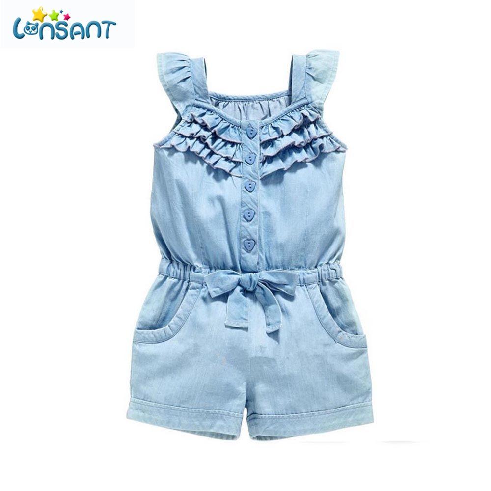 LONSANT 2018 été bébé fille vêtements barboteuses Denim bleu coton lavé Jeans sans manches nœud papillon combinaison livraison directe