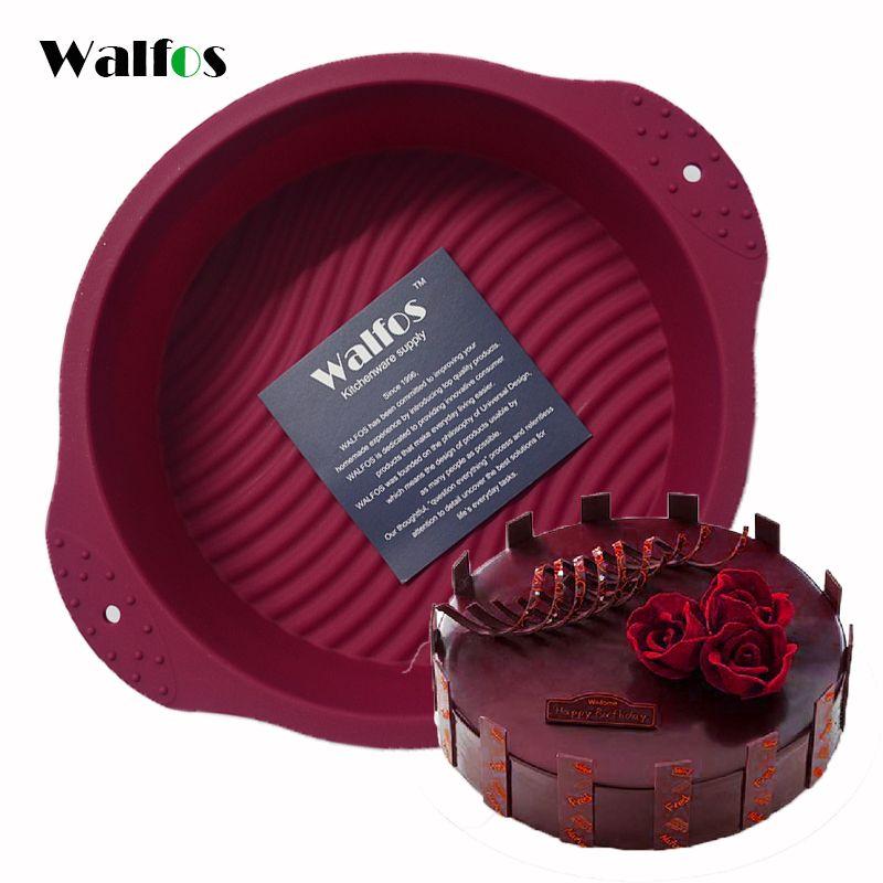 WALFOS grand rond de qualité alimentaire antiadhésif Silicone gâteau pan 3D gâteau moule outils de cuisson ustensiles de cuisson moule plateau anniversaire gâteau Dessert