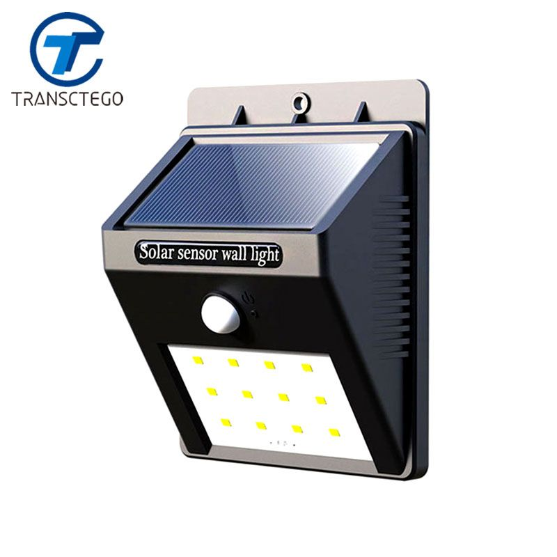 Lampe Solaire Induction jardin lumière PIR corps humain capteur de mouvement extérieur rue lampe de poche lampes avec batterie Solaire puissance 12 Led
