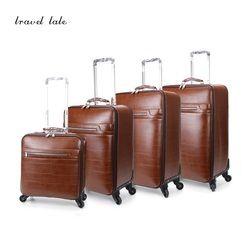 Récit de voyage Concis et haut de gamme d'affaires PU 16/20/22/24 pouce taille Bagages À Roulettes Spinner marque Vintage Valise