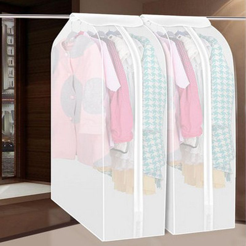 Wardrobe Clothes Storage Bag Garment Suit Coat Dustproof Cover Bag Protector Family Hanging Organizer M/L