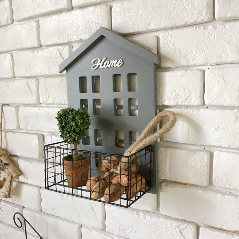 American Rural Wood Bathroom Shelves Wall Hanging with hob Flower Basket Storage Holders Home Decoration