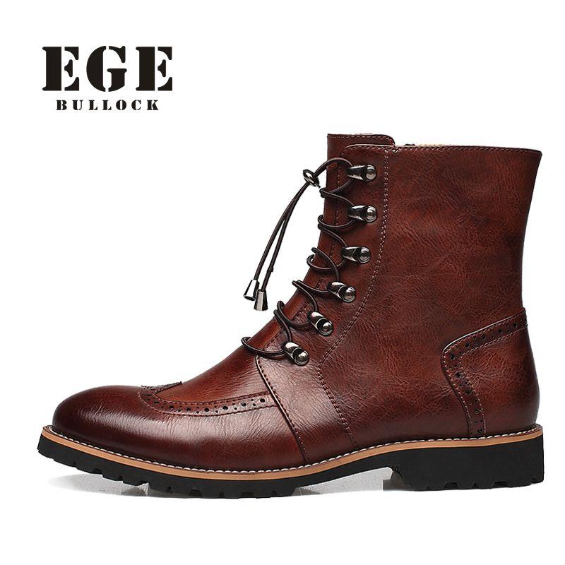 Новое поступление мода баллок обувь, Ручной работы супер теплый натуральная кожа зимние мужские ботинки, Свободного покроя британский стил...