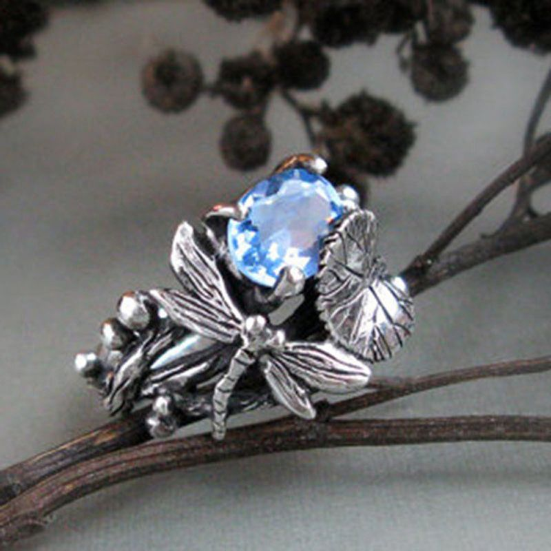 Creative Dragonfly Lotus Leaf Ring Unique Charming Silver Color Women Ring with Blue AAA Zircon Jewelry aneis feminino Size 6-10