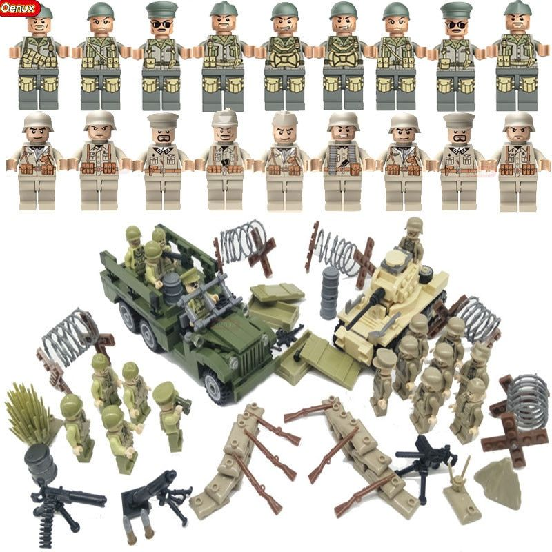Oenux WW2 North Campaign Military US Army VS German Army Figures Building Block Classic Dodge WC63 MARK1 Tank Model Brick Toy