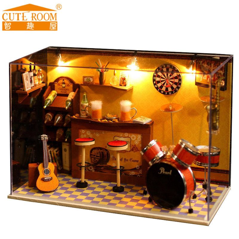 New Miniature Crafts DIY Wooden Doll Houses With Dust Cover Music box Furniture Toys For Kids Children Birthday Gift bar room T8
