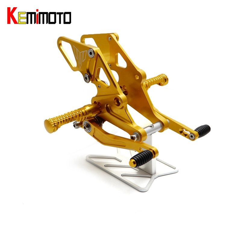 KEMiMOTO MT-07 FZ-07 FZ07 MT07 CNC Adjustable Rear Sets Rearset Footrest Foot Rest Pegs For Yamaha MT-07 FZ-07 2013-2017
