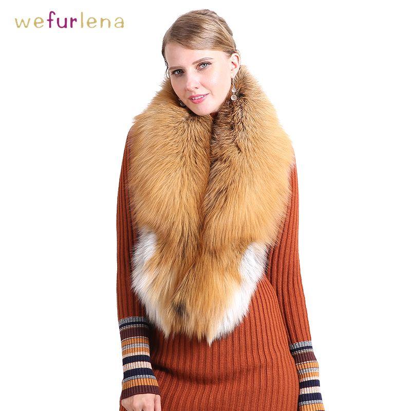 Luxuriöse 100% Echt Fox Pelz Kragen Frauen Natürliche Pelz Schal Luxus Schal Frauen Echt Red Fox Unten Tragen Flauschigen Schal großhandel