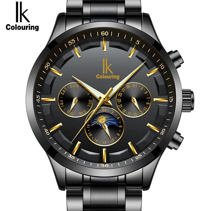 IK Echte Neue Mode Automatische Selbst Wind Männer Uhren Voller Stahl & Echtem Leder Mond Phase Multi-Funktionale luxus Uhr Männer