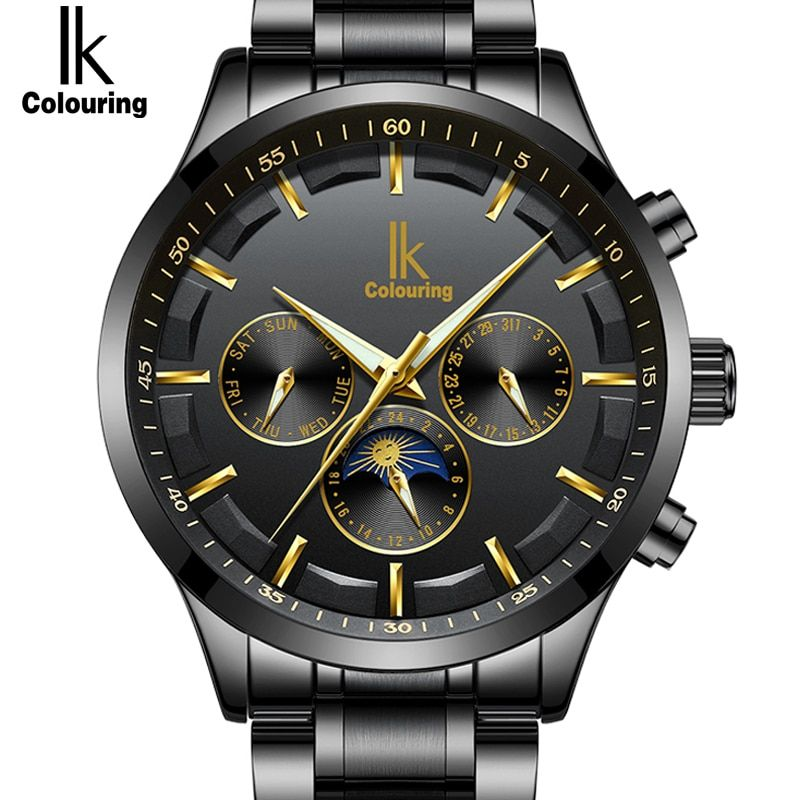 IK Genuine New Fashion Automatic Self-Wind Men Watches Full Steel & Genuine Leather Moon Phase Multi-Functional Luxury Watch Men