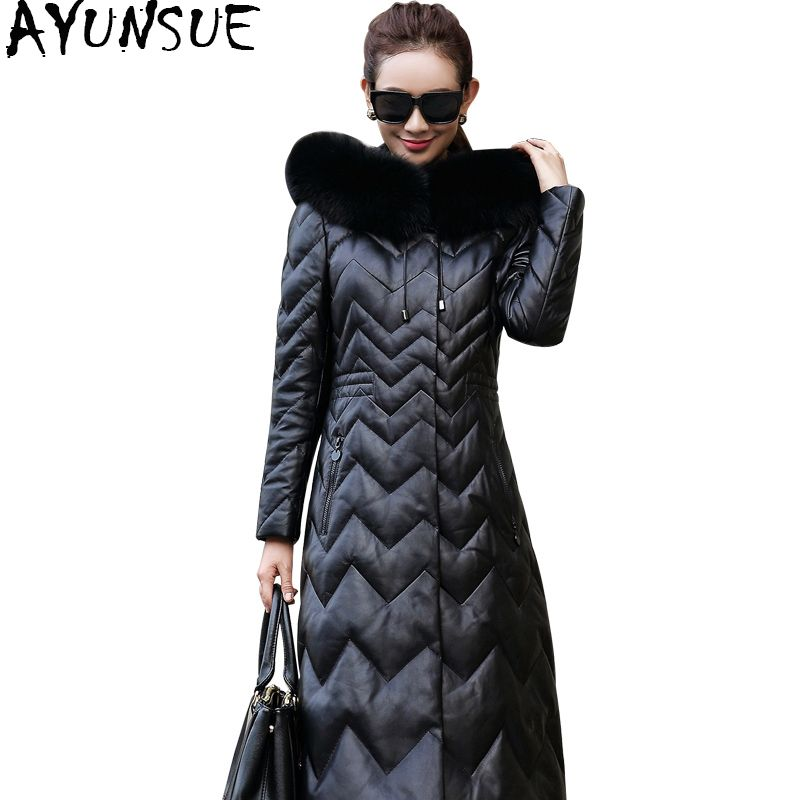 AYUNSUE 2018 Winter Women's Down Genuine Leather Jacket Real Fox Fur Collar Hooded Long Natural Sheepskin Coats Plus Size YQ1625