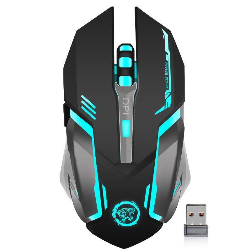 Rechargeable Sans Fil 2.4 GHz LED Rétro-Éclairé Souris USB Optique 6 Bouton Ergonomique Jeu Silent Mouse Gamer pour PC De Bureau Ordinateur Portable