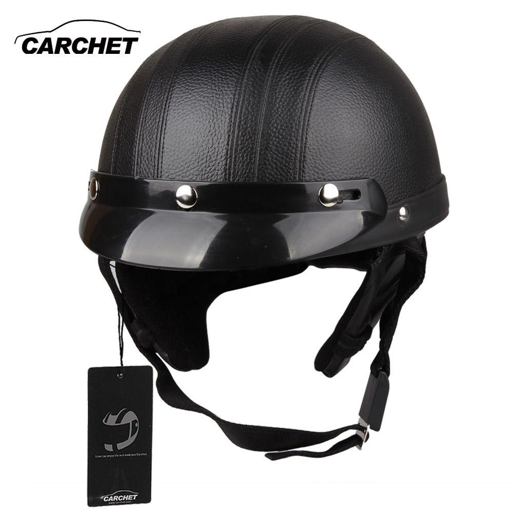 CARCHET casque de moto Face ouverte visière Motocross moteur casques avec lunettes écharpe réglable pour lièvre rétro extérieur cyclisme