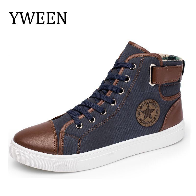 YWEEN Mode Sneakers Pour Hommes Classique Dentelle-up Haute Style Vulcanisé Plat Avec Chaussures de Sport