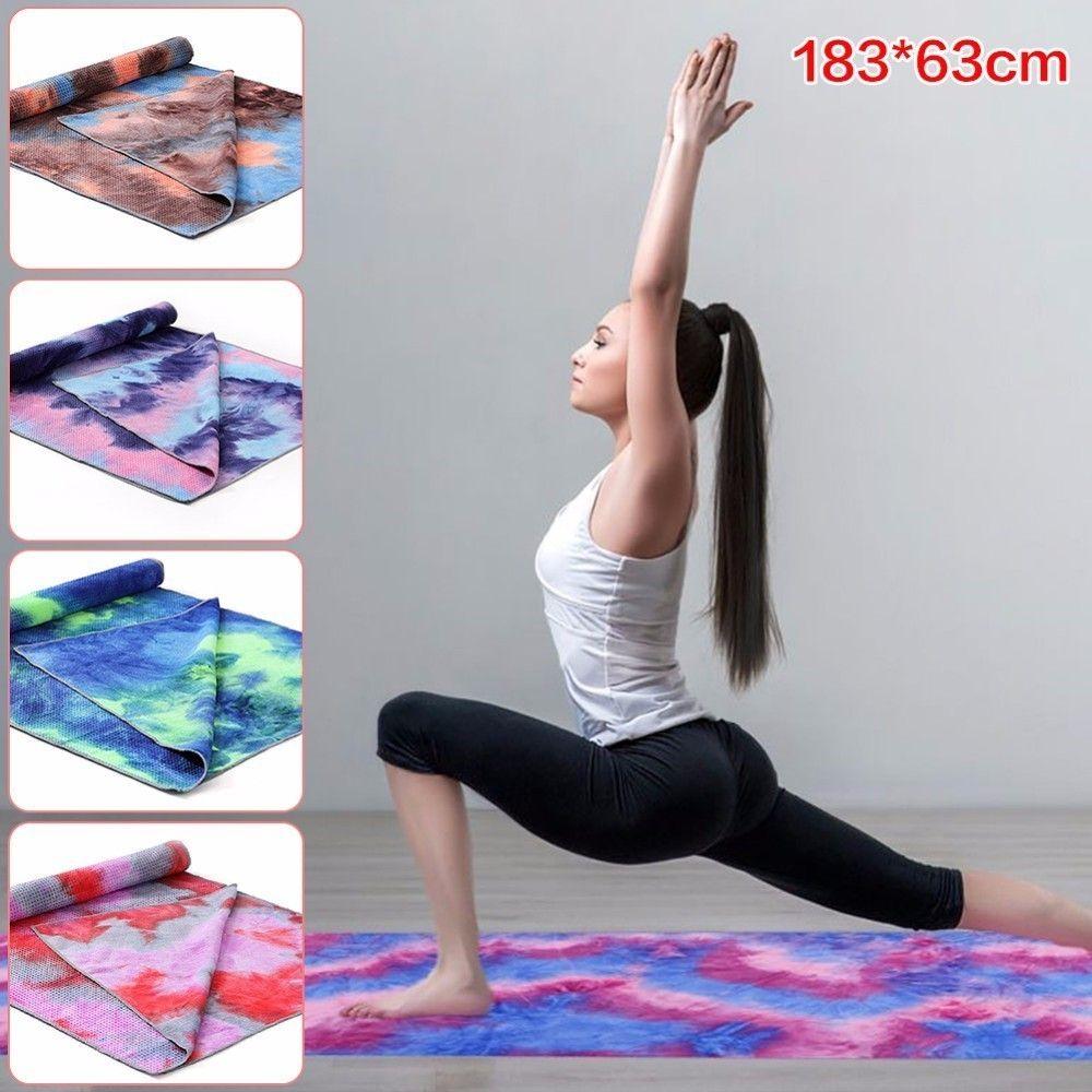 183x63cm Tie-dye Printed Non Slip Yoga Towel Soft Travel Camping Sport Fitness Exercise Yoga Pilates Mat Long Blanket