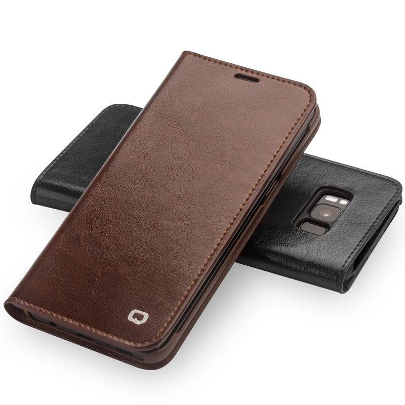 QIALINO Étui En Cuir pour Samsung Galaxy S8 & S8 Plus Véritable Sac En Cuir Flip Portefeuille Ultra Mince Couverture pour Samsung s8 & S8 Plus