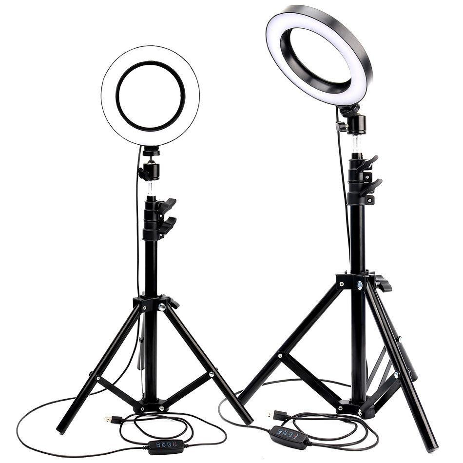 LED anneau lumière Photo Studio caméra lumière photographie Dimmable lumière vidéo pour Youtube maquillage Selfie avec trépied support pour téléphone