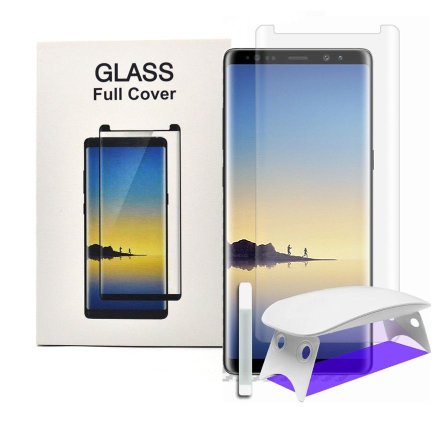 For Samsung Galaxy Note8 s8 s9 plus Tempered Glass Screen Protector 3D Curved Full Coverage with Install Kit & UV Light Liquid