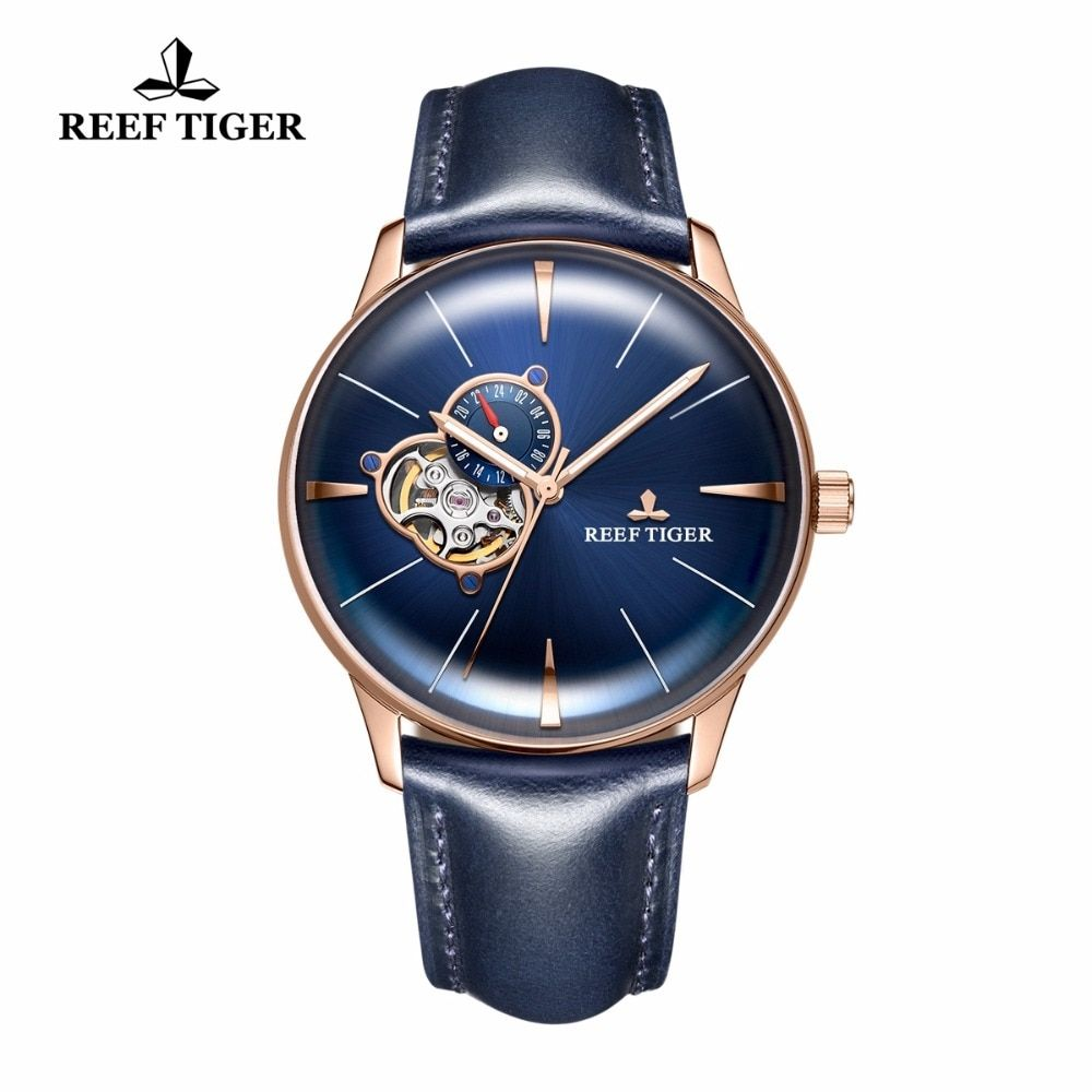 New Reef Tiger/RT Designer Casual Watches Rose Gold Blue Dial Convex Lens Automatic Watches for Men RGA8239