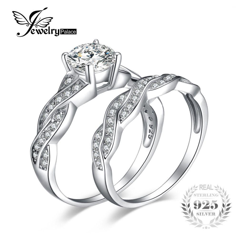 JewelryPalace Infinito 1.5ct Diamante Simulado Promesa Aniversario de Boda Anillo de Compromiso Nupcial Establece la Plata Esterlina 925