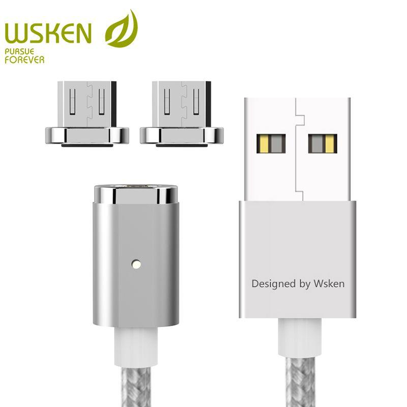 WSKEN Mini 2 LED Magnétique USB Câble Rapide De Charge Magnétique Chargeur Micro USB Câble Pour Samsung S6 S7 Bord Micro Périphériques USB 1 M