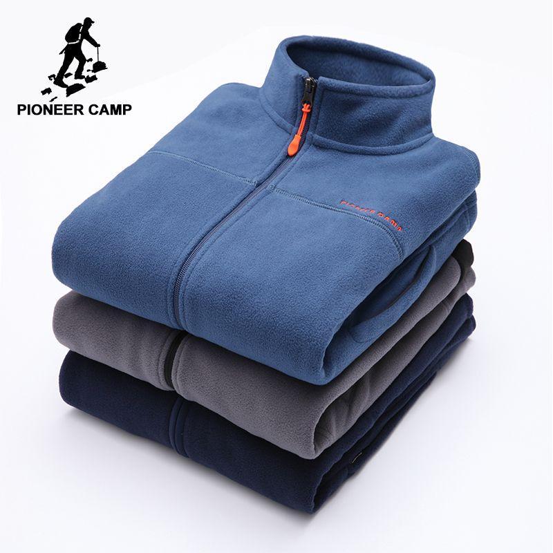 Pioneer Camp warm fleece hoodies men brand-clothing autumn winter zipper sweatshirts male quality men clothing 520500A