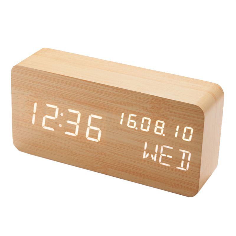 Wooden LED Alarm Clock Display Date+Time+<font><b>Celsius</b></font>/Fahrenheit Temperature Sound Control Function A Table Desktop Clocks