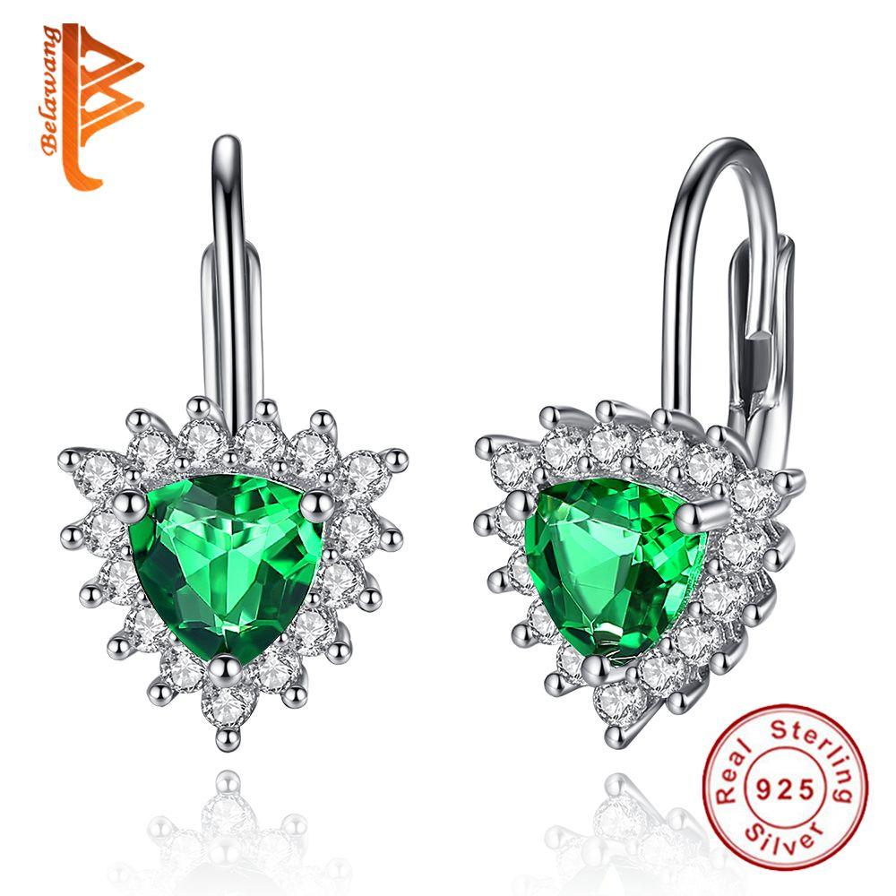 Pendientes de Plata de Ley 925 de lujo Nuevo Estilo Verde Austria Crystal & Clear CZ Del Corazón Del Perno Prisionero Para Las Mujeres de San Valentín de Regalo