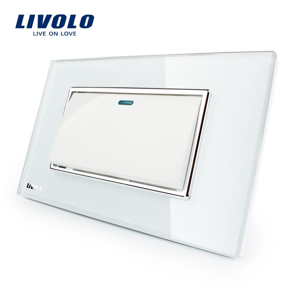 Livolo Luxury White Crystal Glass Panel, Push button 1 Gang 2 Way switch, VL-C3K1S-81
