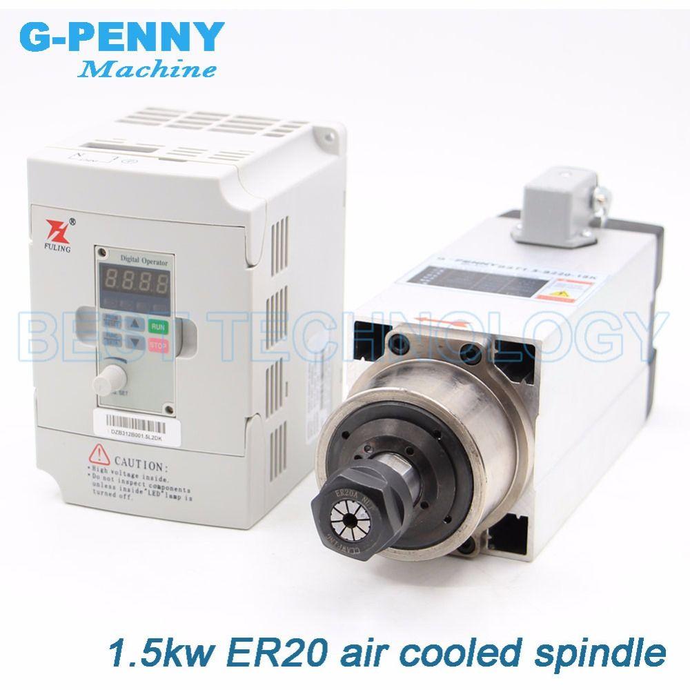 Neue Ankunft! 1.5kw Quadrat Luftgekühlten Spindel Motor kits 1.5kw Luftkühlung Spindel 4 stücke lager & 1.5kw Fuling Inverter/VFD