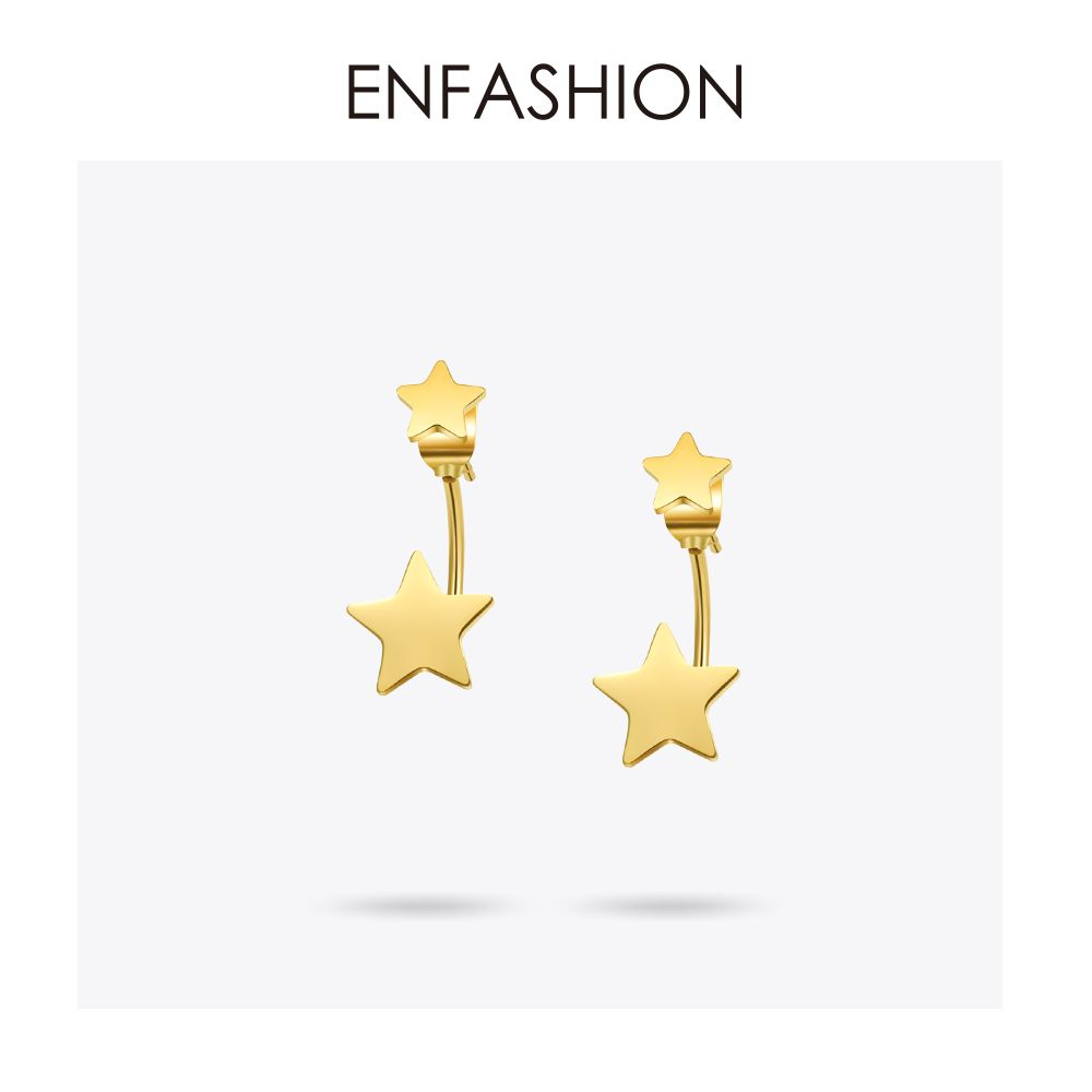 Enfoudre Bijoux Double Star Boucles D'oreilles Noir boucle d'oreille goujon Or Rose Boucles D'oreilles de Couleur acier inoxydable boucles d'oreilles pour femmes En Gros