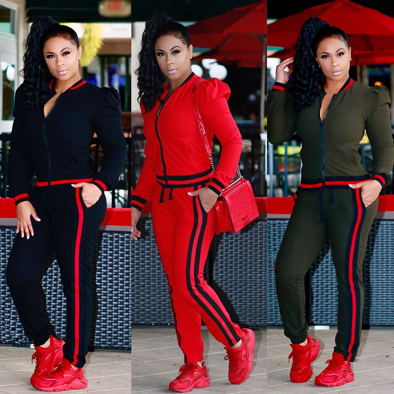 2018 TWO PIECE SET Stripes Top Long Pants Women Sweatsuit Tracksuit 2 Pieces Sporting Suit Female Sweatshirt Plus Size Twinset