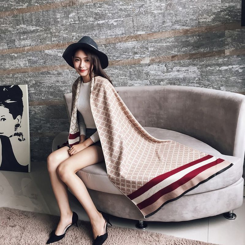 Scarf luxury brand Winter Poncho Pashmina Scarf Women Imitation <font><b>Cashmere</b></font> Warm Shawl Blanket Scarf Winter Scarves and stoles
