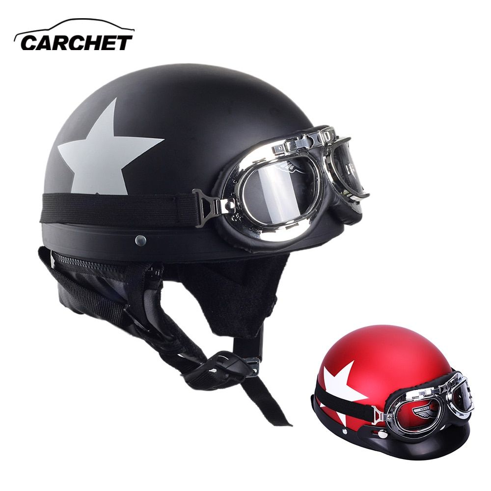 CARCHET casques moto avec lunettes 2 couleur visière Motocross demi visage casque carbone blanc étoile 55 cm-60 cm pour Harley kawasaki