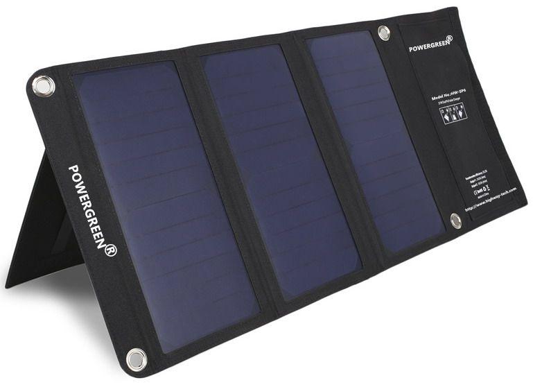 PowerGreen Pliable Téléphone Chargeur Solaire 21 Watts Portable 5 V 2A Solaire Power Bank Batterie Externe pour LG Téléphone
