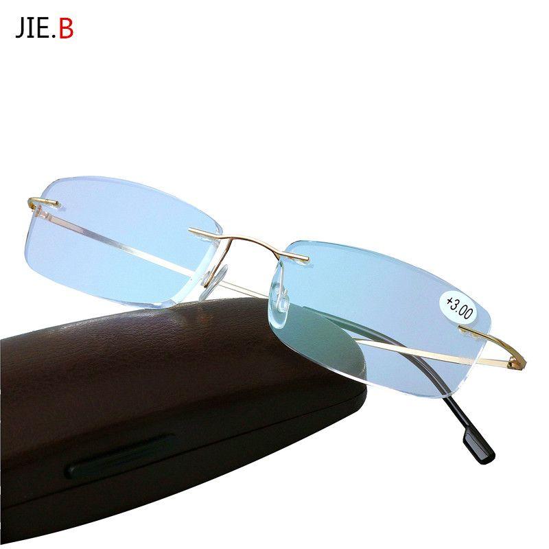 Presbytie lunettes Pliage Lumière Flexible Mémoire Titane Sans Monture Lunettes de Lecture oculos de grau 1.0 1.5 2.0 2.5 3.0 3.5
