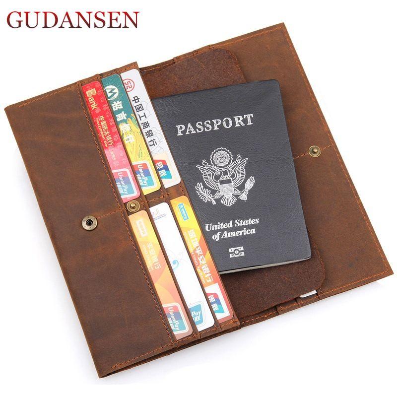 GUDANSEN 100% Genuine Leather Wallet Passport Cover Cowhide Hasp Card Holder Large Capacity Storage Ticket Flights Travel Purse