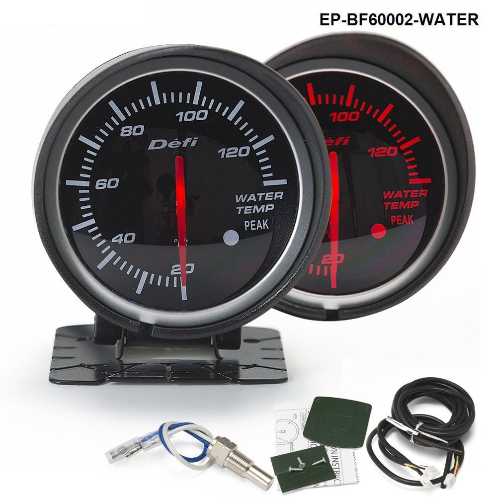 BF 60mm LED Water Temp Temprature Gauge Auto Car Motor Gauge with Red & White Light For Seat 2001-2006 EP-BF60002-WATER