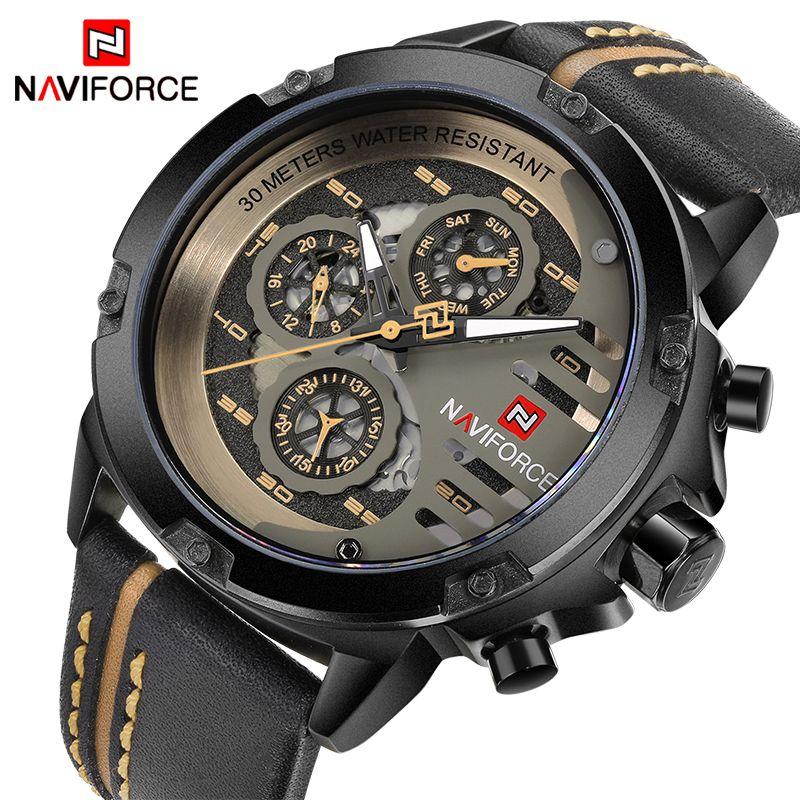 NAVIFORCE Luxury Brand Watches Men Sport Leather 24 hour Date Quartz Watch Man Waterproof Clock Men's Army Military Wrist Watch